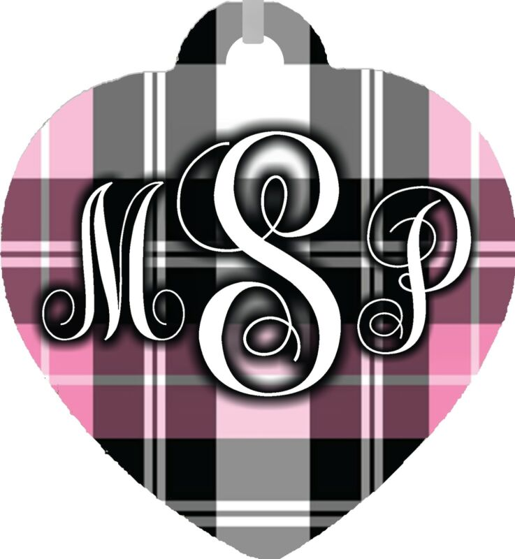 Personalized Custom Monogrammed Initials Pink Plaid Pattern Metal Heart Necklace