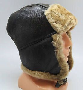 bonnet en fourrure chapeau aviateur russe chapka cuir neuf marron noir gris ebay. Black Bedroom Furniture Sets. Home Design Ideas
