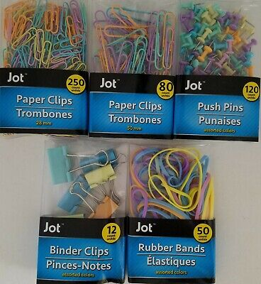 Pastel Paper Clips Binder Clamps Push Pins Rubber Bands Select Type