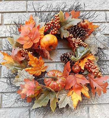 "21""  Fall Leaves Pine Cones Pumpkins Gourds Berries Door Wreath"