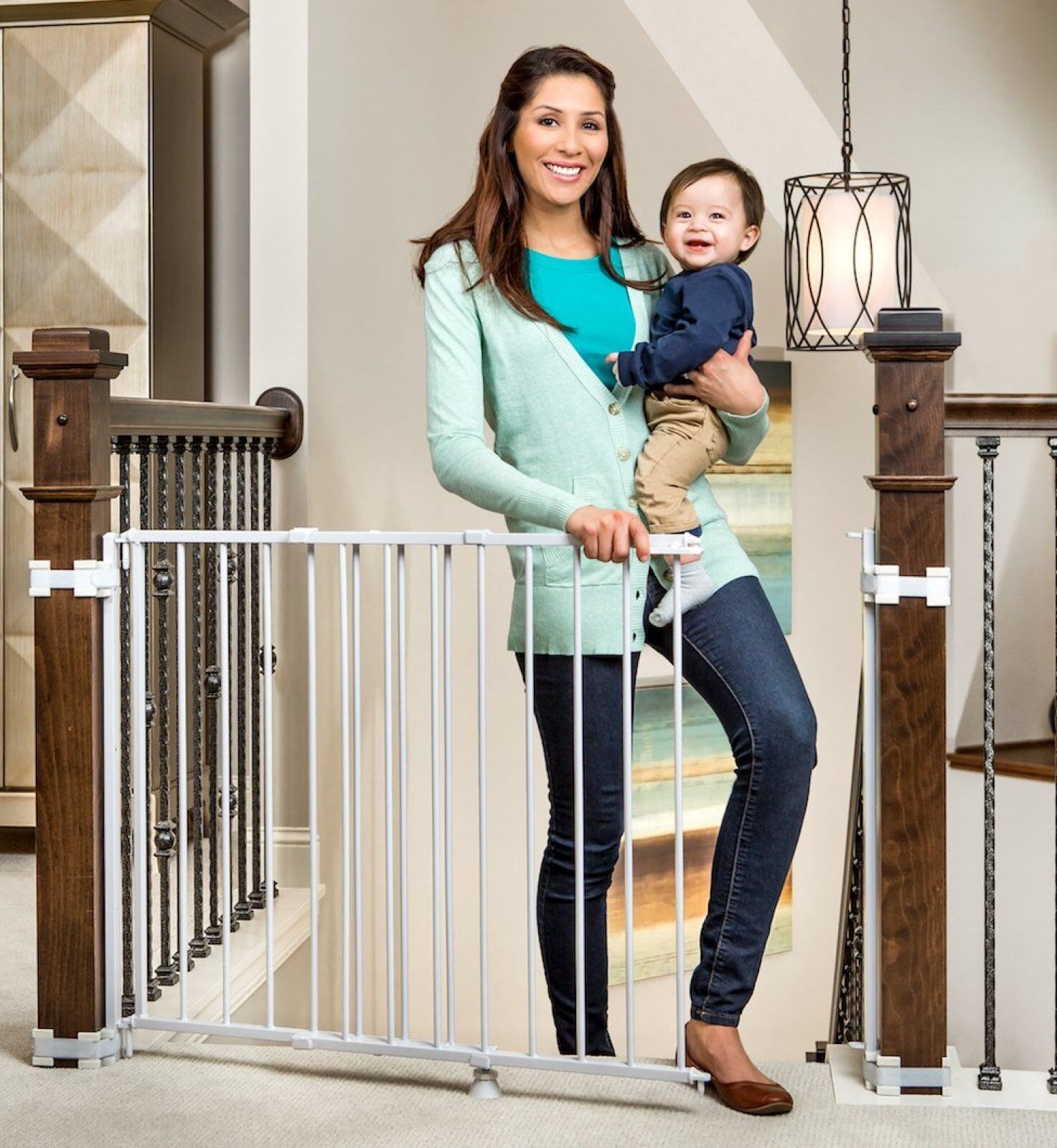 Baby Safety Gate Child Enclosure Walk Thru Pet Dog Cat Swing