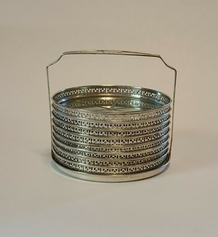 8 Antique Webster Glass & Pierced Sterling Silver Glass Coaster With Caddy