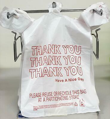 350ct Large 12x6x21 Thank You T-shirt Plastic Grocery Shopping Bags Carry Out