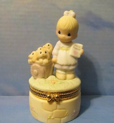 "Precious Moments ""God Loveth a Cheerful Giver"" Free Puppies Porcelain Hinged Box"