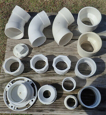 Lot Of 15 Assorted Plumbing White Pvc Pipe Fittings
