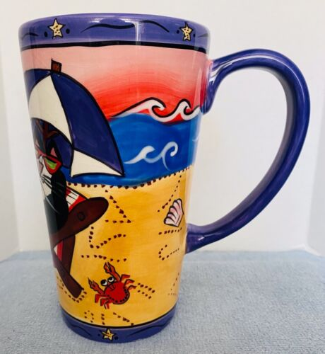 CATZILLA TALL MUG from CANDACE REITER 2003 - BEACH SCENE - EXCELLENT CONDITION!