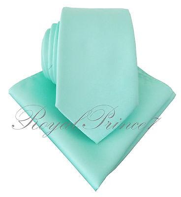 Aqua Mint Blue Green Neck tie and Pocket Square Hankie Set Formal Wedding 100QQ](Green And Blue Wedding)