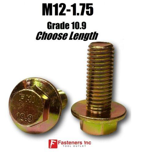 M12-1.75 x (Choose Length) Grade 10.9 Metric Flange Bolts Yellow Zinc Hardened