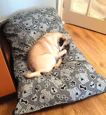 super warm Dog Bed Cushion Heavy Duty BEIGE faux leather base washable Soft feel