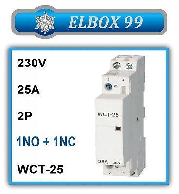 Contactor 220V 230V 2P 1NO+1NC 25A WCT Modular Carril Din Rail Riel