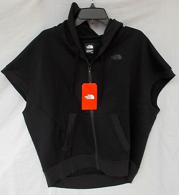 Black Face Casual Gear (New Women's The North Face Train N Logo Short Sleeve Hooded Sweat Shirt Black)