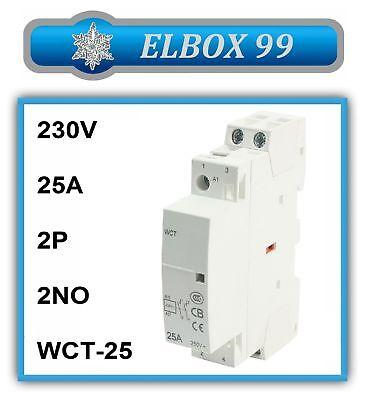 Contactor 220V 230V 2P 2NO 25A WCT Modular Carril Din Rail Riel
