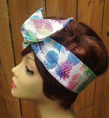 Pineapple Festival Print  Wired Headband Wired Dolly Bow Hair Scarf - Bandanna  - Pineapple Headband