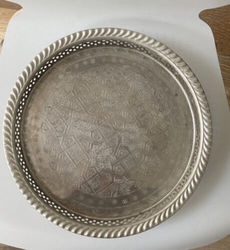 T2 Moroccan silver plated serving tray 31 cm