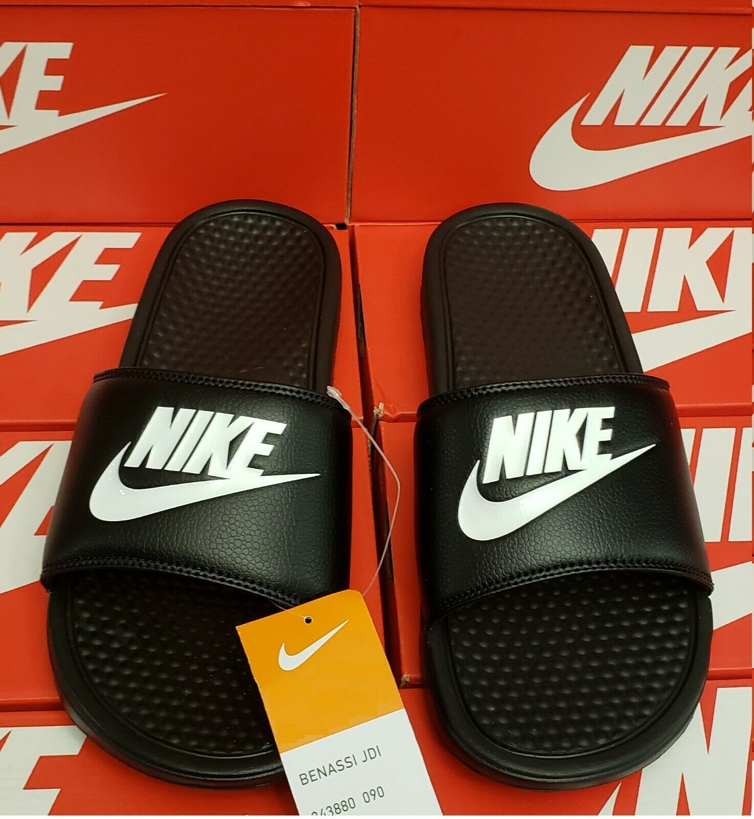 NEW NIB SIZES 7-12 MEN Nike Benassi JDI Logo Black White Sli