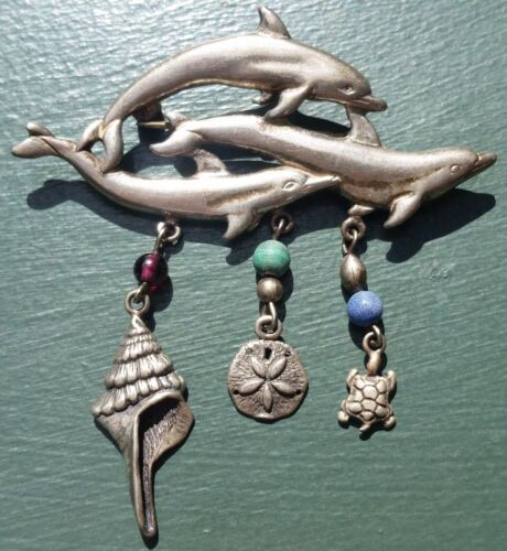 Vintage Sterling Leaping Dolphins Pin w Turtle, Sand Dollar, & Shell Attachments