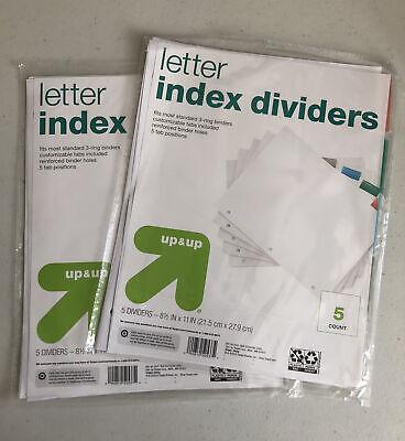 Lot Of 2 Target Letter Index Dividers Reinforced Binder 3 Holes 5 Colored Tabs