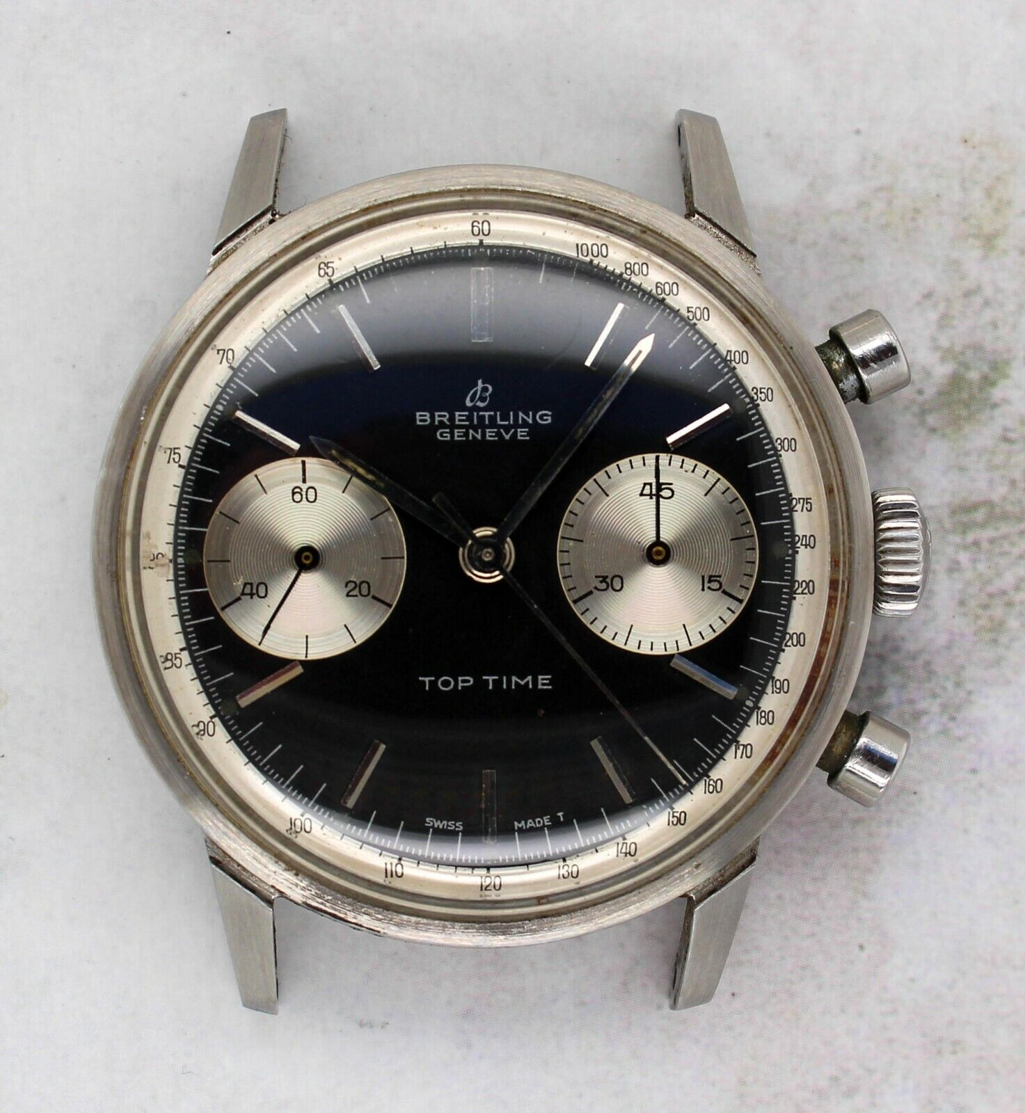 Vintage Breitling Top Time Ref. 2002 Steel Chronograph Wristwatch Valjoux 7730 - watch picture 1