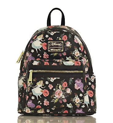 Loungefly X Disney Alice in Wonderland Character Floral Print Mini-Backpack ()