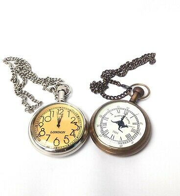 Sifaat World Pair of Australian Penny & London Pocket Watches with Chain,Replica