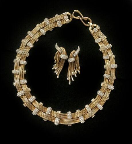 Boucher Gilt Lattice, Tassel & Diamanté Pavé Necklace and Drop Earrings Set