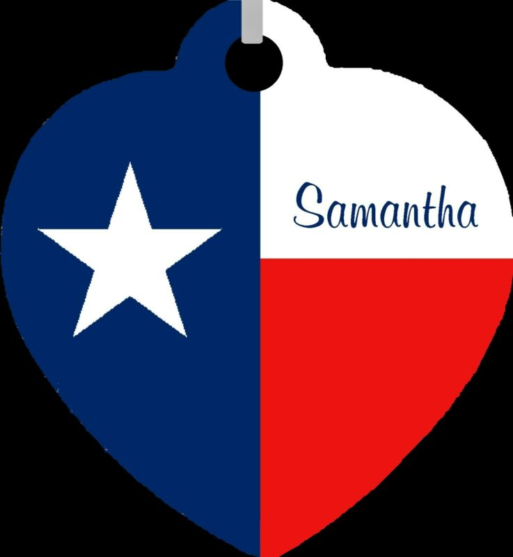 Personalized Custom Name Texas Flag Lone Star Southern Metal Heart Necklace NEW