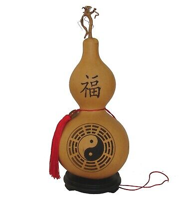Feng Shui Big Natural Gourd Wu Lou w/ YinYang for Good Health & Protection for sale  San Marcos