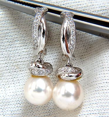 9mm natural akoya pearl  & .40ct  diamonds drop cap earrings 14kt. hoop (Diamonds 9mm Akoya Pearl Earrings)