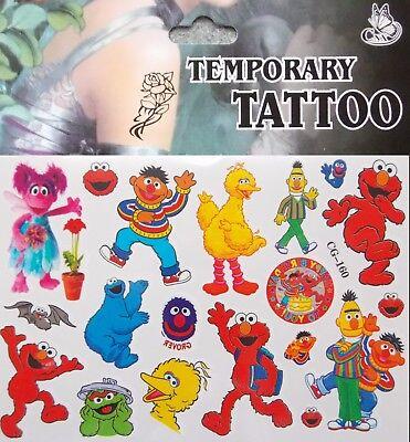SESAME STREET Characters Big Bird, Elmo, Eime,  Cartoon Temporary Tattoo  #160