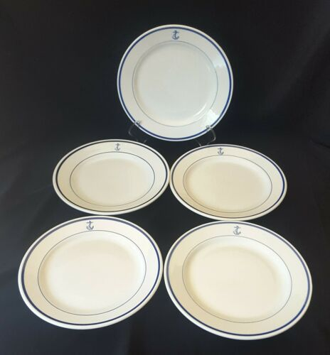 Five US Navy Fouled Anchor 9 1/2 Inch Luncheon Plates