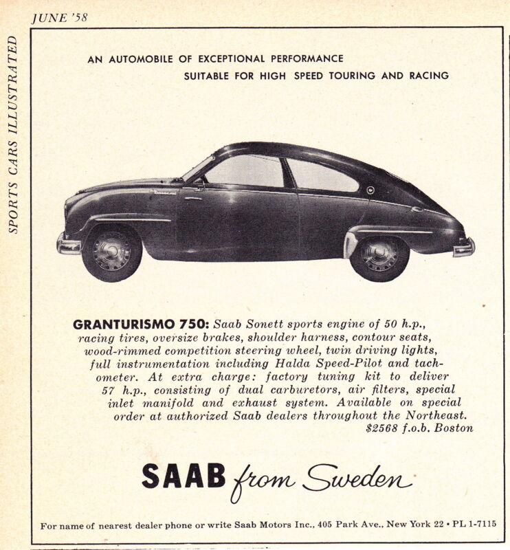 1958 SAAB GRANTURISMO 750  ~  ORIGINAL SMALLER PRINT AD