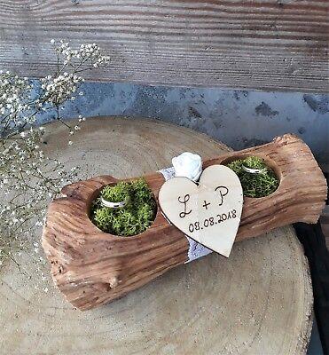 Ringkissen Ringhalter Holzstamm Rose für Eheringe Hochzeit mit Buchstaben