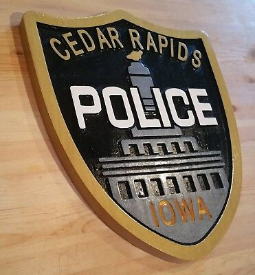 Police Cedar Rapids 3D routed carved award wood plaque patch sign Custom