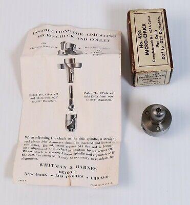 Rare Whitman Barnes 424 Micro Collet Chuck W Box Vtg Machinist Pin Drill Tool