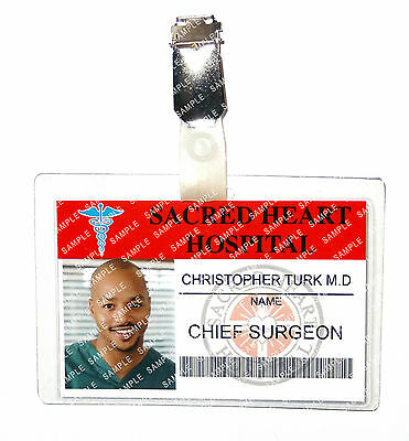 Scrubs Chris Turk ID Badge Sacred Heart Hospital Cosplay Prop Costume Comic Con