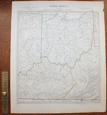 1852 OHIO & Parts of Kentucky Virginia & Indiana Original Antique MAP Knight