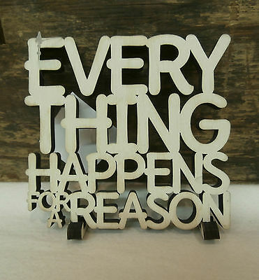 Everything Happens For A Reason Wood Word Art Table Top Shelf Decor 5  X 4 75