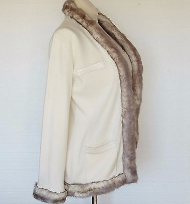 Randolph Duke New Womens 2pc Set Sweater Jacket Tank Top Ivory Faux Fur Sz XS