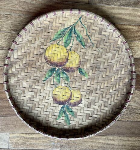 Antique Hand Painted Fruit Bamboo Serving Platter / Tray / Basket - 23  - $28.00
