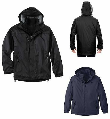 MEN'S OVERALL INSULATED JACKET, ZIP OFF HOOD, POCKETS, WATER RESISTANT, S-5XL Mens Insulated Overalls