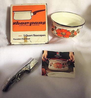 Vintage Sankoware Show Pans 1 Quart Open Saucepan Porcelain Clad Steel #2001 NIB