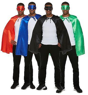 Superhelden Super Bösewicht Kostüme (Herren Blau Grün Rot Schwarz Superhelden Held Bösewicht Umhang Maske)