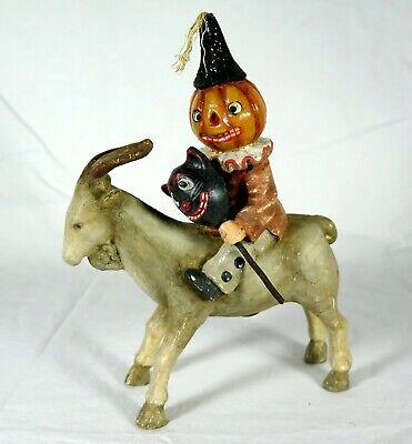 BETHANY LOWE HALLOWEEN Pumpkin Head Clown w/Cat Mask RIDING A GOAT sgd