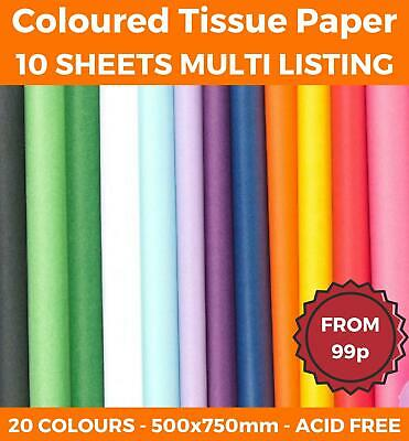 10 SHEETS - TISSUE PAPER LARGE ACID FREE QUALITY SHEETS BIO 50x75 20 COLOURS