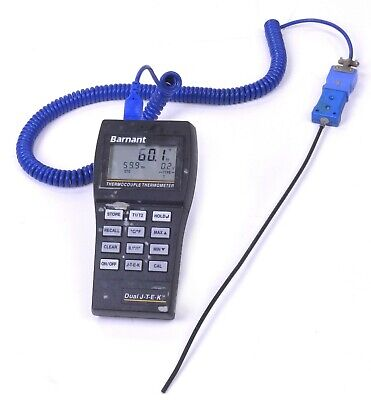 Barnant Dual Thermocouple Type J-t-e-k Thermometer 600-1040 With Probe.