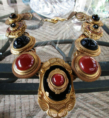 Vintage OOAK Patrice Scarab Egyptian Statement Runway Necklace