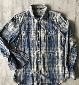 Diesel Distressed Plaid Denim Shirt Size Small!​