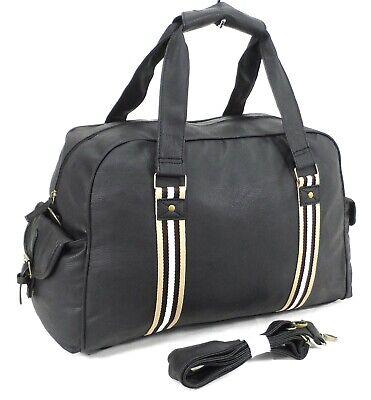 Italian Leather Style Holdall Luggage Weekend Duffel Travel Overnight Gym Bag Bk