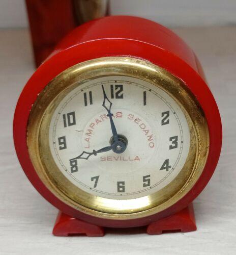 Art Deco Marbled Cherry Red Bakelite Catalin Clock (nonworking)
