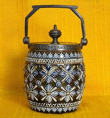 DOULTON LAMBETH Art Pottery PRESERVE JAR Pot & Cover c1880